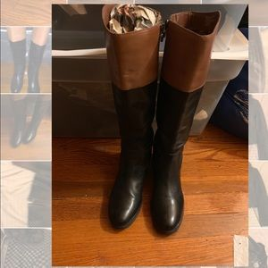 Etienne Aigner Leather boots size 8 black/cognac